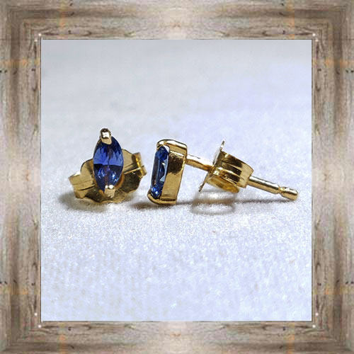 Genuine 14k Montana Yogo Sapphire Earrings $449.99 #5662