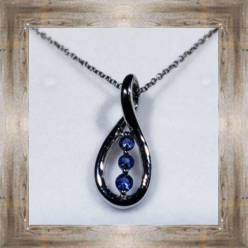 Genuine 3-Stone Montana Yogo Sapphire Twist Pendant $350.00 #7402