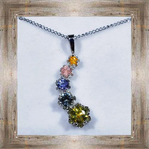 Genuine 5-Stone Montana Sapphire Pendant $385.99 #1080