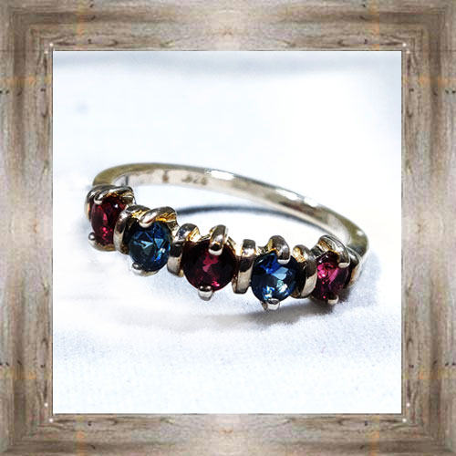 Genuine 5-Stone Montana Sapphire Ring $185.99 #3081