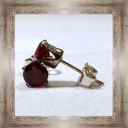 5mm Genuine Montana Garnet Earrings $175.00 #6549