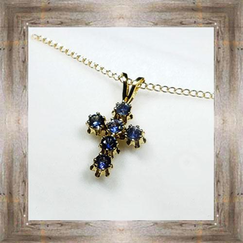 Genuine Montana Sapphire Cross Pendant $135.00 #7404