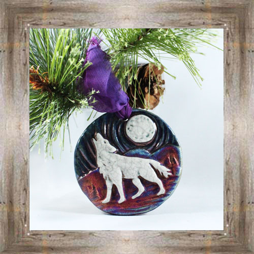 Raku Wolf Medallion $12.99 #7554