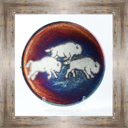 Small Raku Plate (Bison) $14.25 #7484