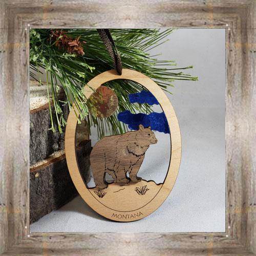 Bear Oval Ornament $9.50 #8343