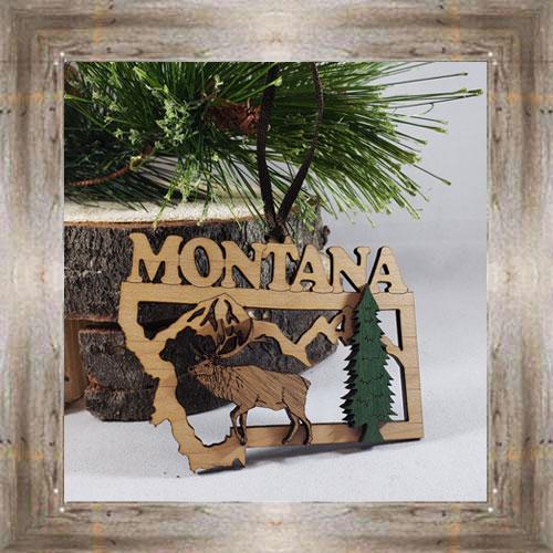 Elk Flat Wood Ornament $9.50 #8349
