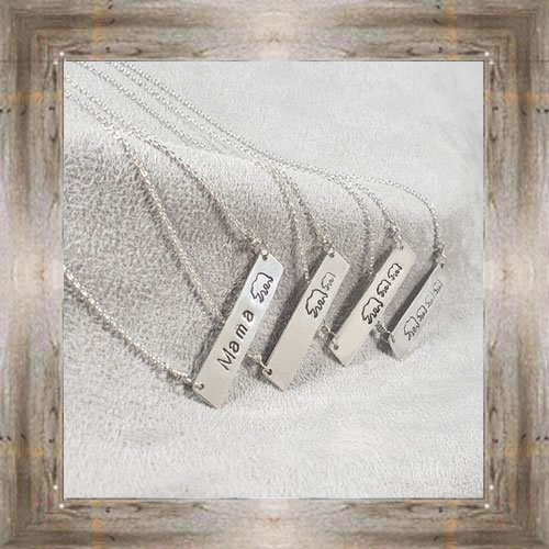 'Arianna's Jewels' Stamped Bar Mama Bear Necklaces $28.99 #7286