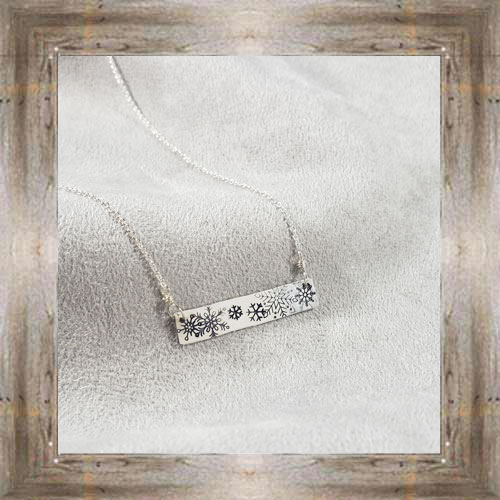 'Arianna's Jewels' Stamped Bar Snowflakes Necklace $28.99 #7286