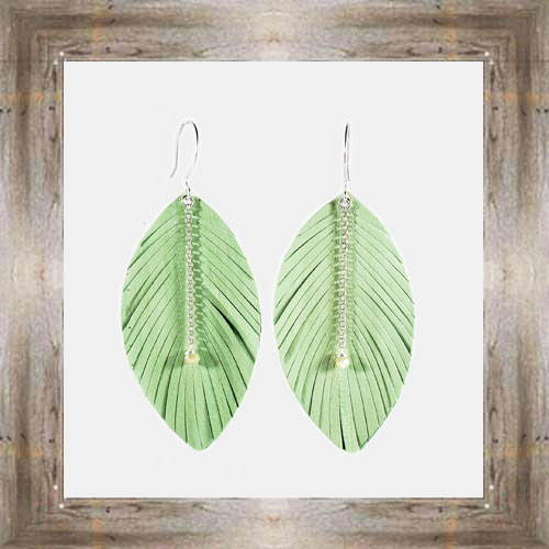 'Daphne Lorna' Green Leather Feather Earrings $29.99 #8017