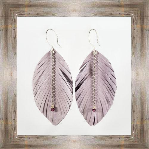 'Daphne Lorna' Purple Leather Feather Earrings $29.99 #8017