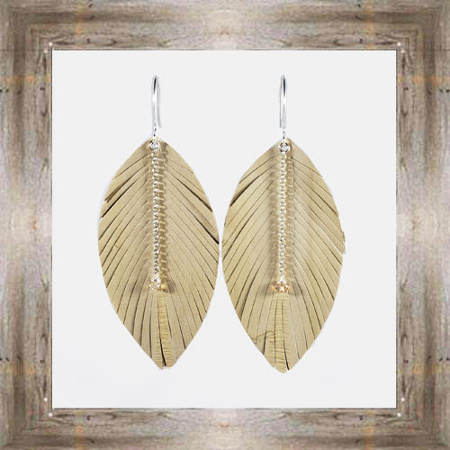 'Daphne Lorna' Tan Leather Feather Earrings $29.99 #8017