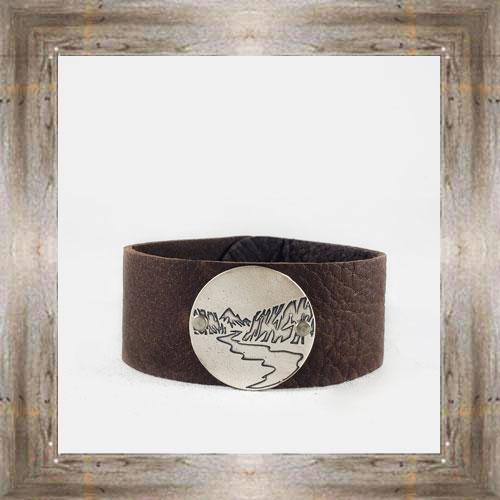 Daphne Lorna Wide Leather Cuff Scenic Circle $48.99 #8996
