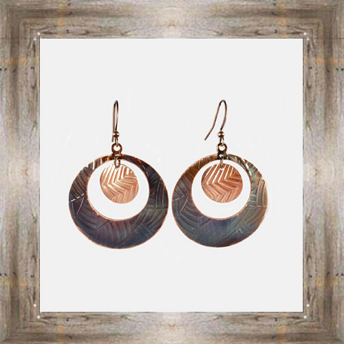 'Handcrafted Originals' Copper Circle Earrings $24.99 #5538