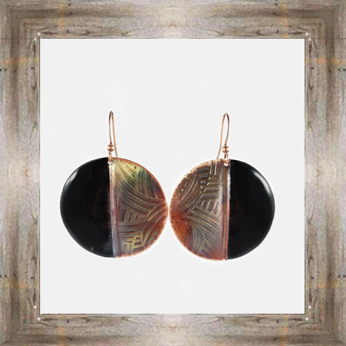 'Handcrafted Originals' Copper & Enamel Circle Earrings $34.99 #7270