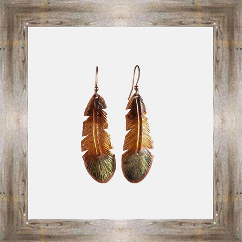 'Handcrafted Originals' Copper Feather Earrings $24.99 #5538