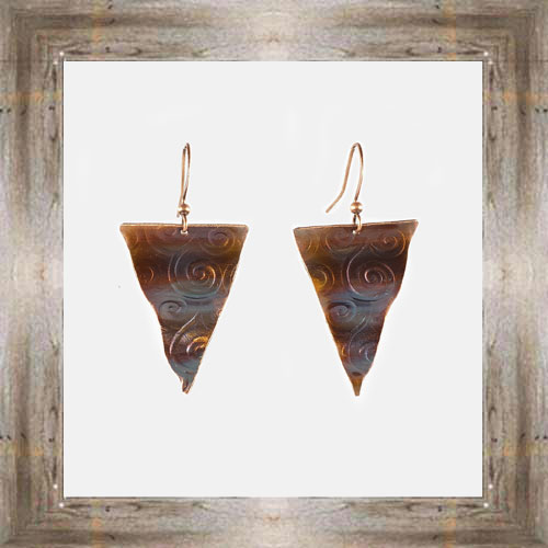 'Handcrafted Originals' Copper Triangle Earrings $24.99 #5538