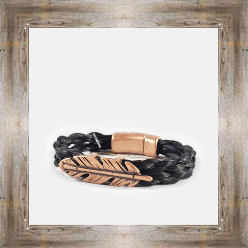 Rose Gold Feather Horse Hair Clasp Bracelet $34.99 #8118