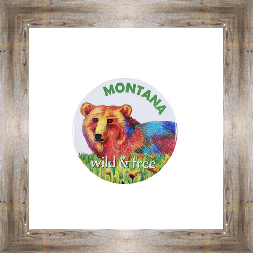 Wild & Free Bear Button Magnet $5.25 #8725