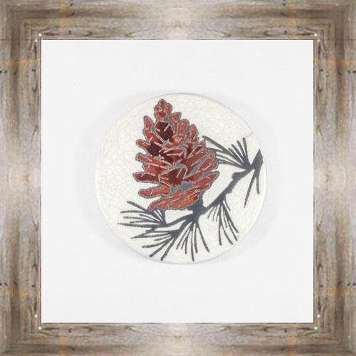 Pinecone Raku Coaster $6.00 #7681