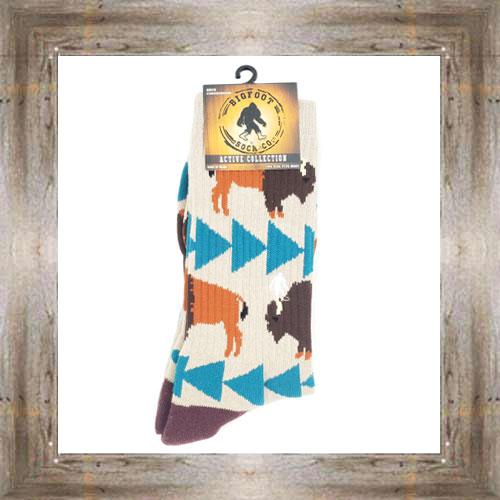 'Bigfoot' Geometric Bison Active Socks $12.99 #8142