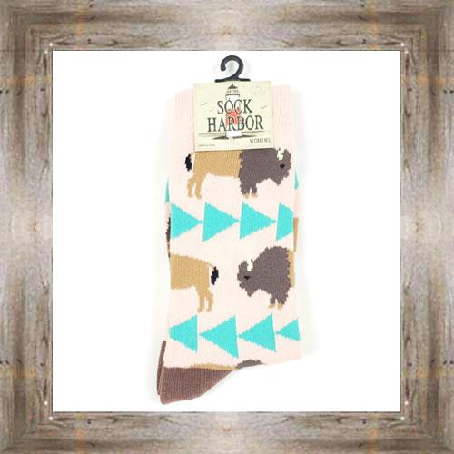'Bigfoot' Geometric Bison Ladies Socks $11.50 #7299