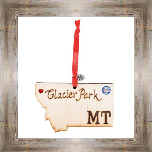 Glacier Park MT Wooden Map Ornament $7.99 #7777