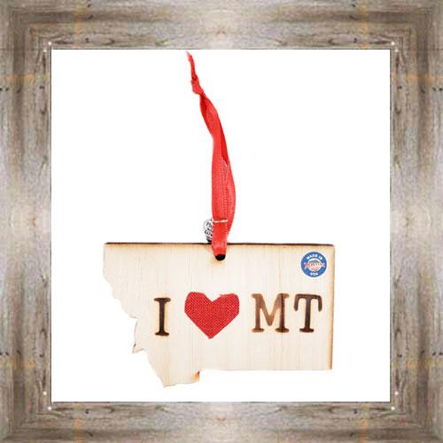 I Love MT Wooden Map Ornament $7.99 #7777