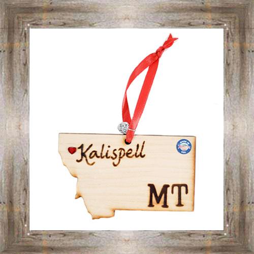 Kalispell MT Wooden Map Ornament $7.99 #7777