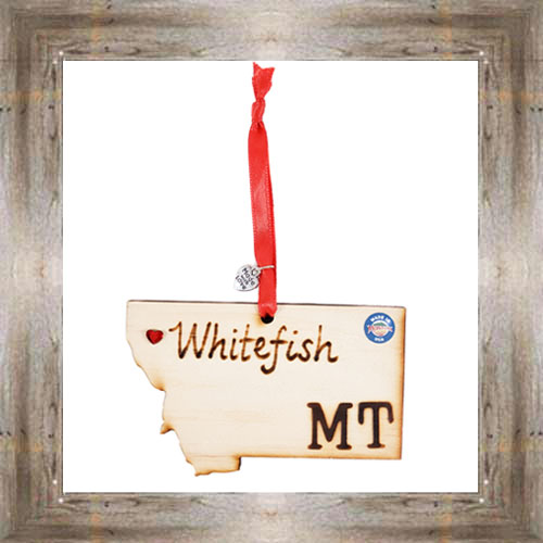 Whitefish MT Wooden Map Ornament $7.99 #7777