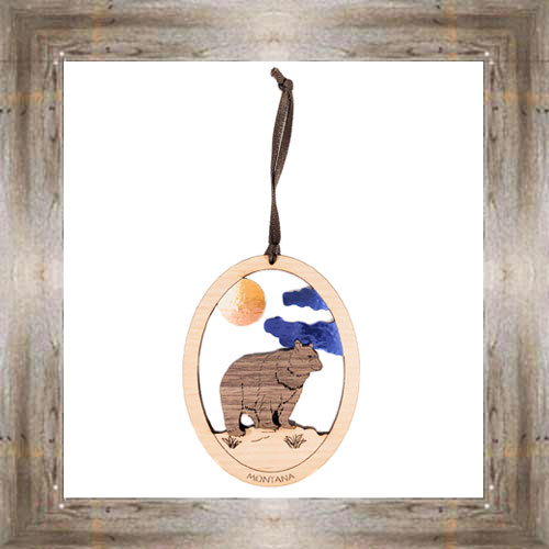 Bear Wooden Oval Ornament $9.50 #8343