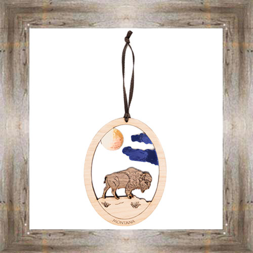 Bison Wooden Oval Ornament $9.50 #8343