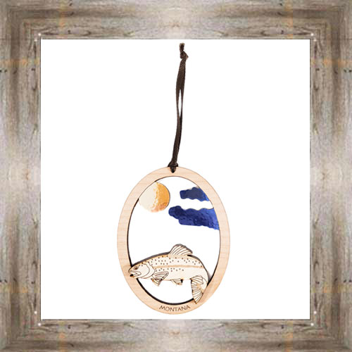 Trout Wooden Oval Ornament $9.50 #8343
