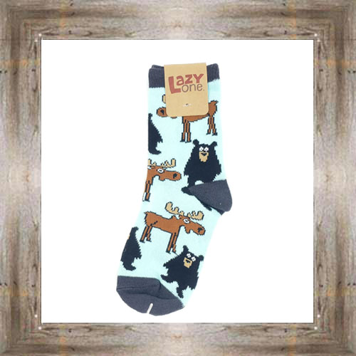 Bear & Moose (Blue) Kid & Infant Socks $6.00 #8818