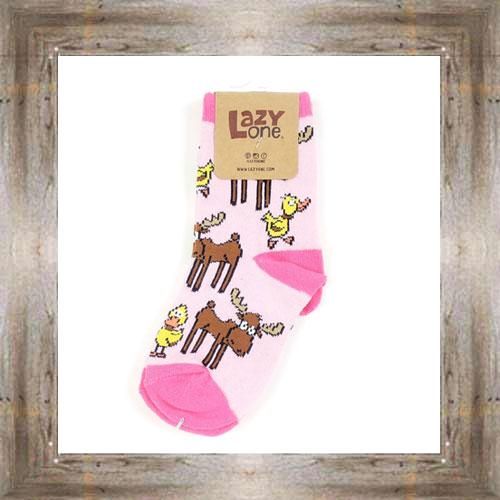 Moose & Ducks (Pink) Kid Socks $6.00 #8818