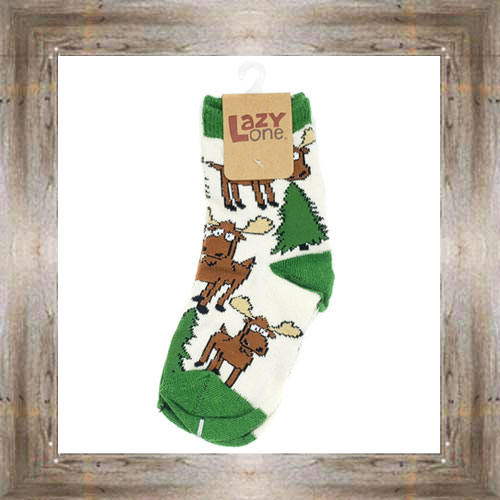 Moose & Trees (Green ) Kid Socks $6.00 #8818