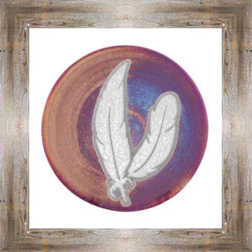 """'Raku' 5"""" Feathers Plate $14.25 #7484"""
