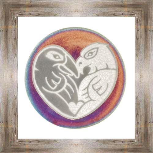 """'Raku' 5"""" Love Birds Plate $14.25 #7484"""
