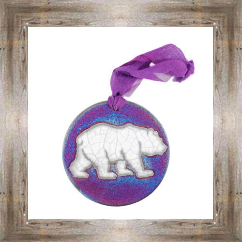 'Raku' Bear Medallion Ornament $12.99 #7554
