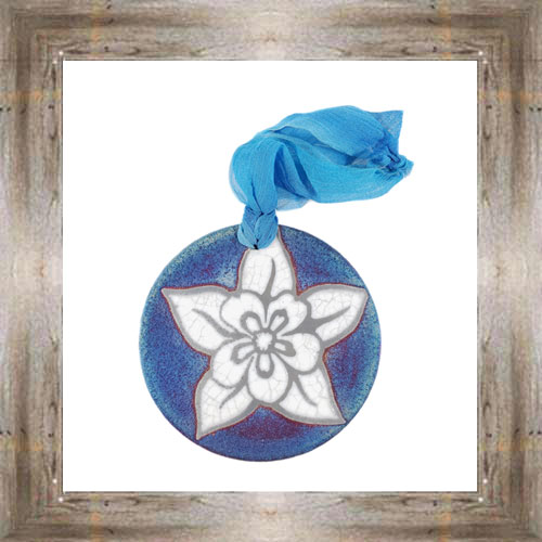 'Raku' Flower Medallion Ornament $12.99 #7554